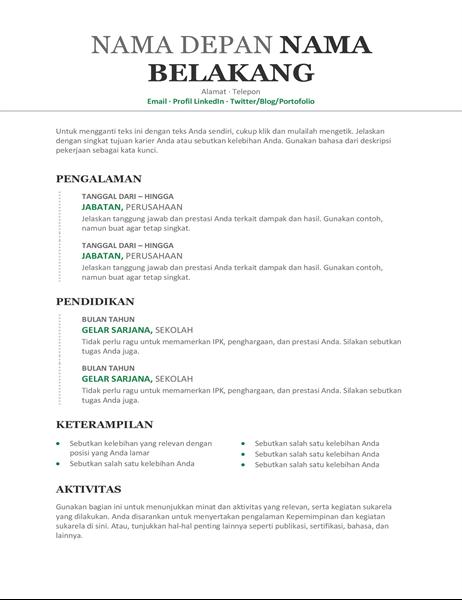 Resume kronologis modern