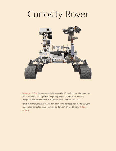 Laporan sains Word 3D (model Mars Rover)