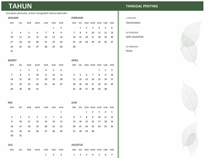Kalender bisnis (tahun apa pun, Sen-Min)