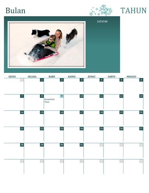 Kalender musim keluarga (tahun berapa pun, Sen-Min)