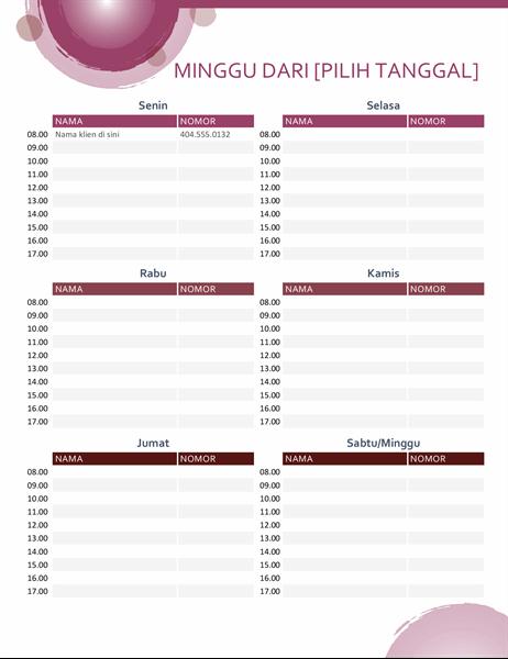 Kalender janji temu rangkaian ungu