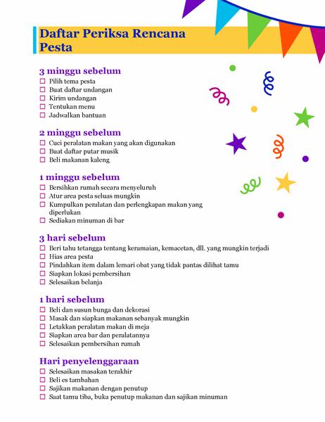 Daftar periksa rencana pesta