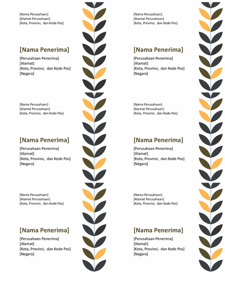 Label motif sulur (6 per halaman)
