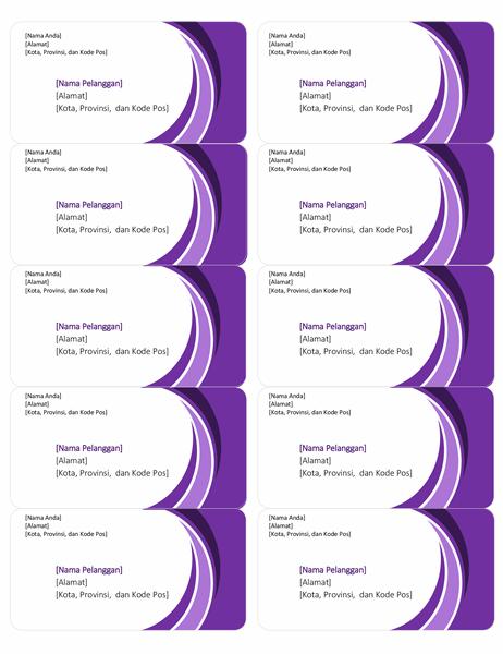 Label pengiriman berwarna ungu (10 per halaman)