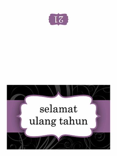 Kartu ulang tahun (Pita ungu desain, lipat dua)