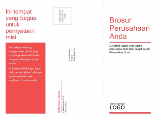 Brosur bisnis dan medis lipat tiga (desain merah dan putih)