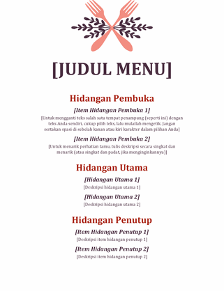 Menu acara informal