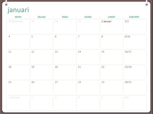 Kalender dinding klasik (Sen-Min, desain jilid dua cincin)