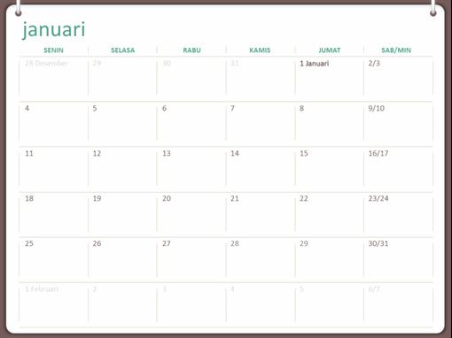 Kalender dinding klasik (Sen-Min, desain jliid dua cincin)