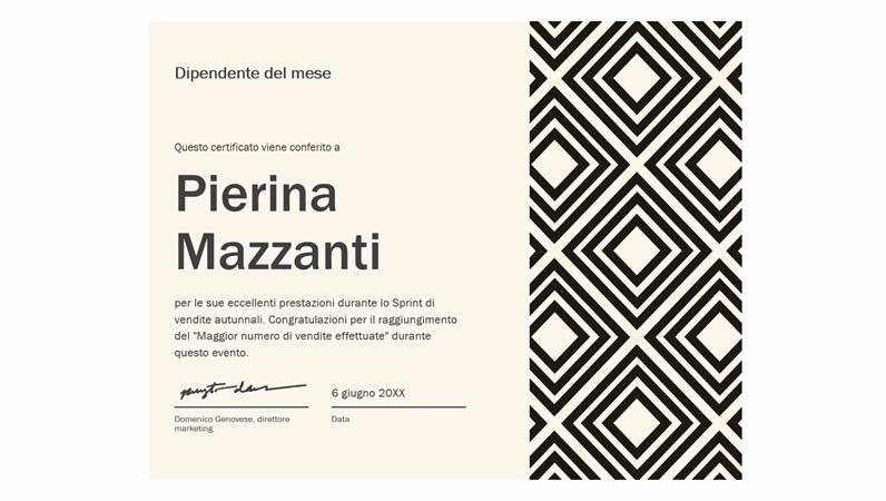 Certificato di dipendente più brillante del mese