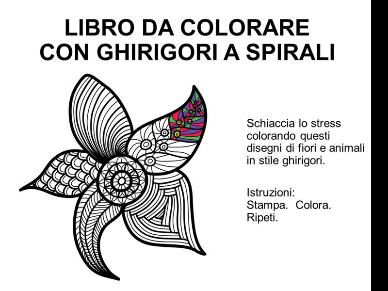 Libro da colorare con ghirigori a spirale