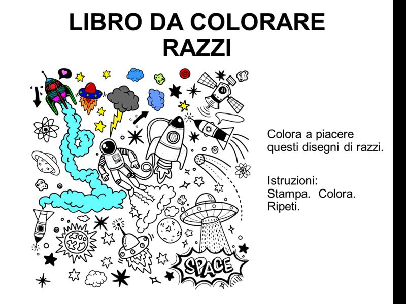 Libro da colorare con razzi