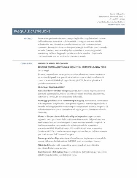 Curriculum per responsabile di affari normativi