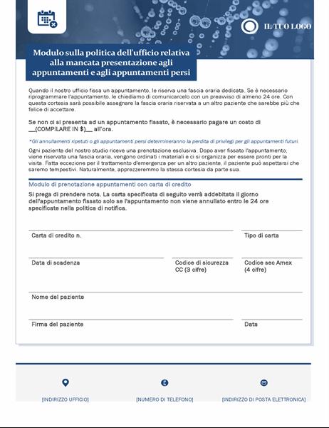Modulo di pagamento per la mancata presentazione di assistenza sanitaria