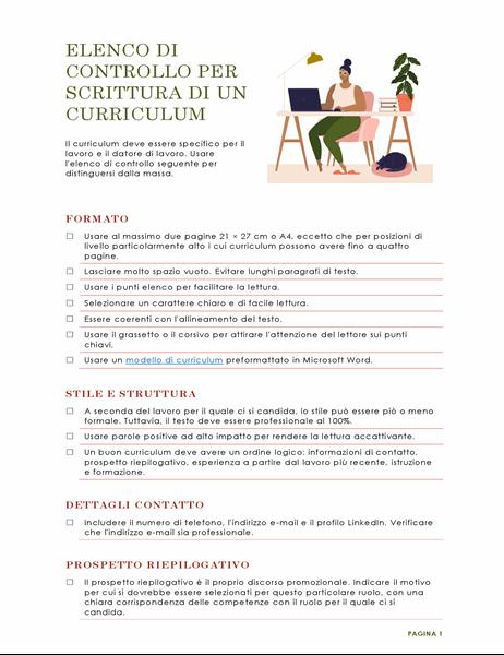 Elenco di controllo per scrittura di un curriculum