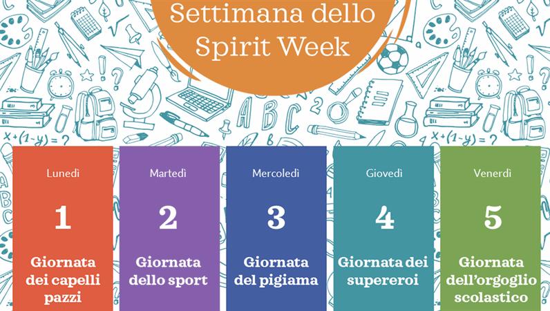 Calendario della Spirit Week della scuola