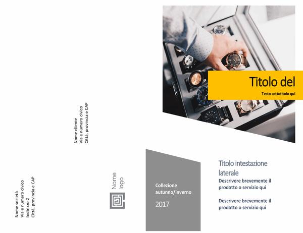 Catalogo prodotti (struttura moduli, piegatura centrale, 8 pagine)