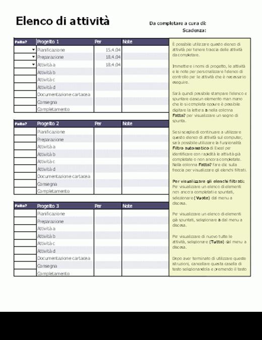 Elenco di attività per progetti