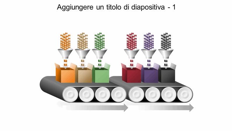 Elemento grafico di un nastro trasportatore multi-processo