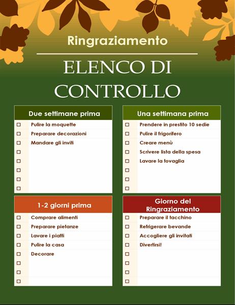 Elenco di controllo verde per il Giorno del ringraziamento