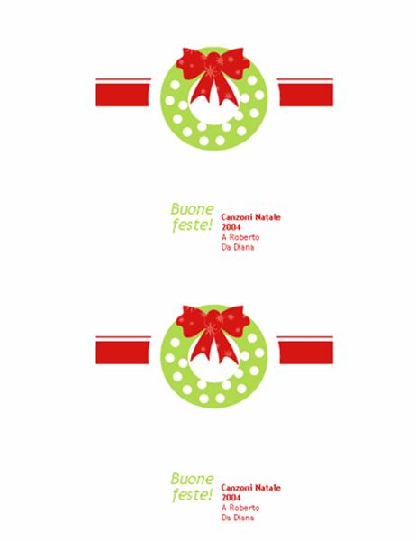 Etichetta natalizia CD/DVD (carta da regalo rossa, supporta Avery 5692, 5931, 8692, 8694 e 8965)