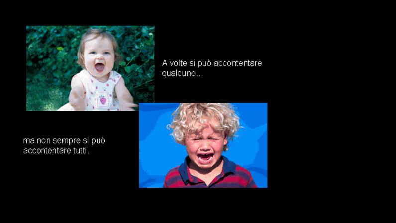 Diapositiva con immagini di gioia e di tristezza