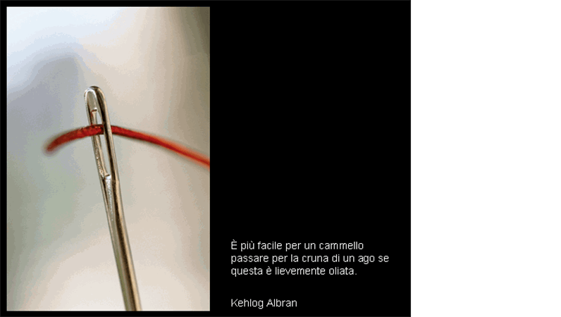 Diapositiva con immagine della cruna di un ago