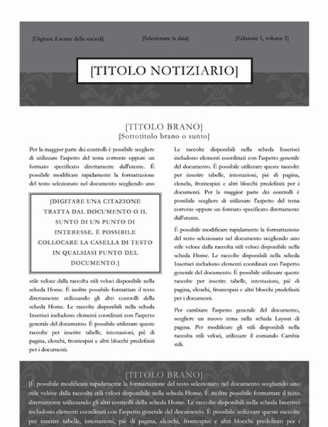 Notiziario (schema Cravatta nera)