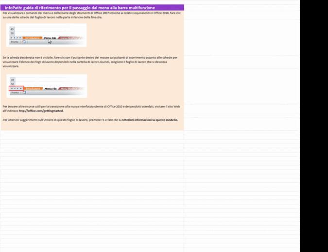 InfoPath 2010: cartella di lavoro di riferimento con le corrispondenze tra menu e barra multifunzione