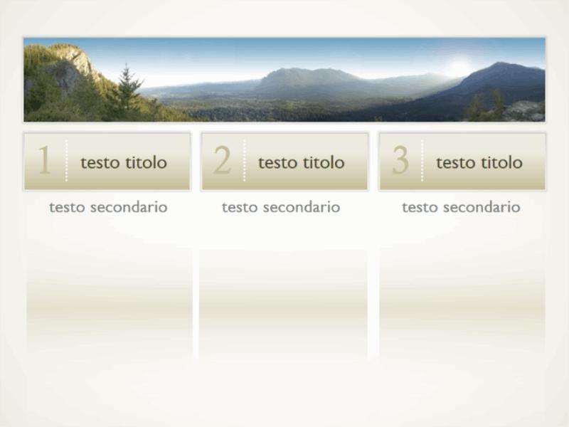 Immagine con tre colonne di testo