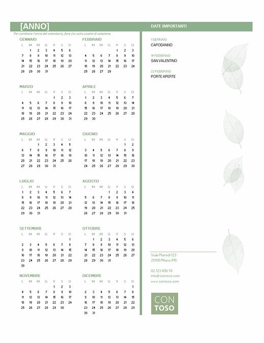 Calendario per piccole imprese (qualsiasi anno, lun-dom)