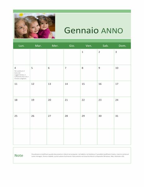 Calendario fotografico di famiglia (qualsiasi anno)