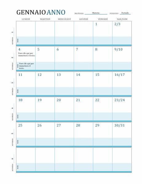 Calendario per il piano delle lezioni