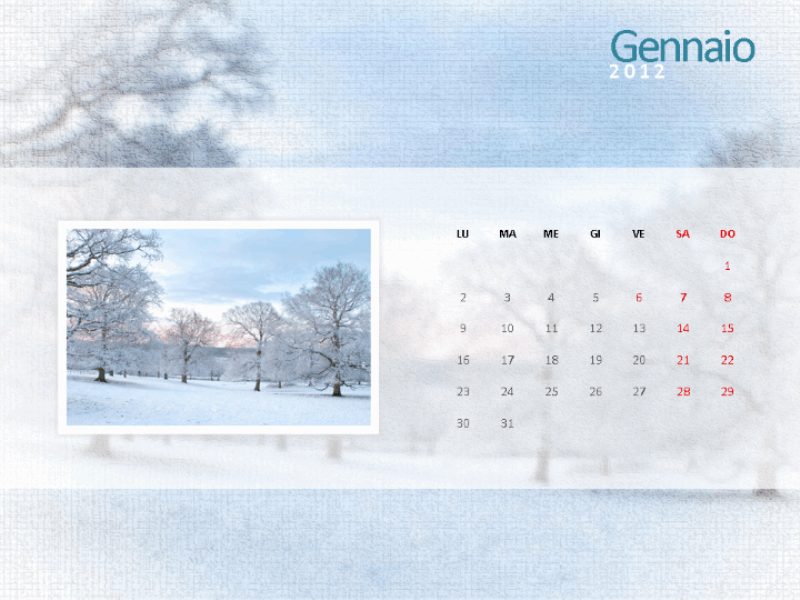 Calendario con foto 2012 - Primo trimestre