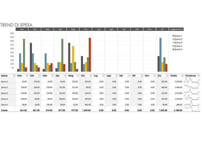 Budget per trend di spesa