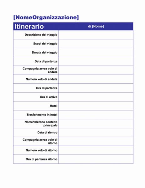 Itinerario viaggio di lavoro con dettagli appuntamenti