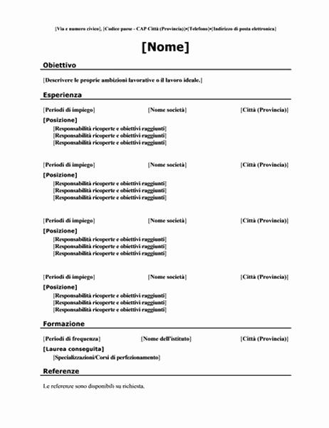 Curriculum cronologico (struttura tradizionale)