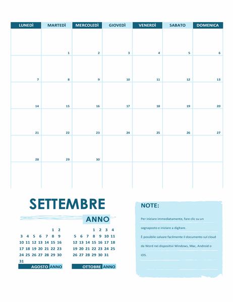 Calendario accademico (un mese, anno, inizio lunedì)
