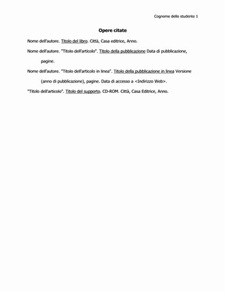 Elenco delle opere citate in formato MLA