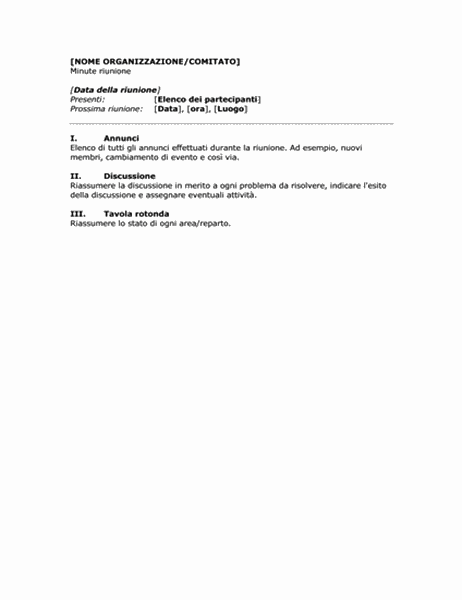 Minute per riunioni aziendali (formato breve)