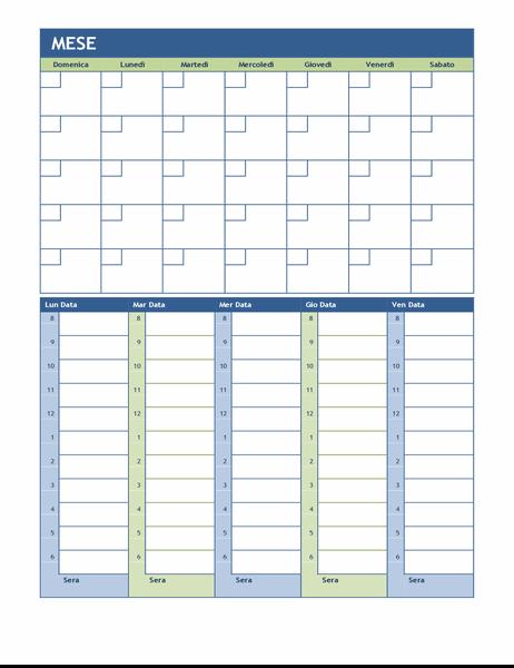 Calendario della pianificazione mensile e settimanale