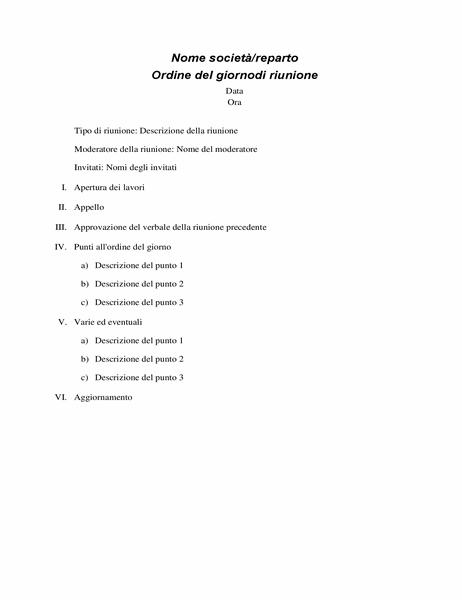 Ordine del giorno di riunione formale