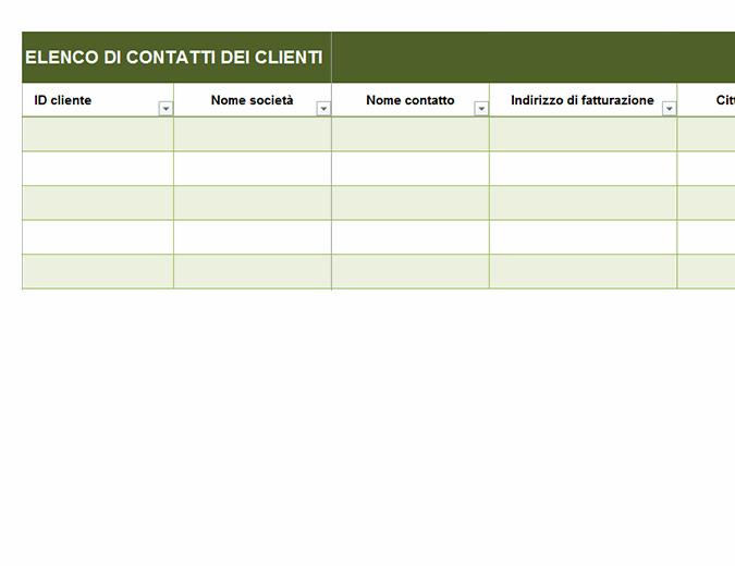Elenco di contatti dei clienti di base