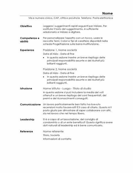 Curriculum funzionale (minimalista)