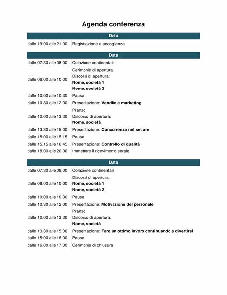 Programma eventi conferenza