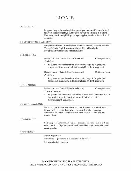 Curriculum responsabile vendite (elegante)