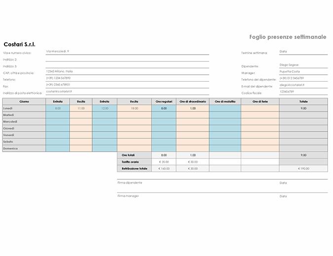 Foglio presenze settimanale (21,6 x 27,9 cm, orizzontale)