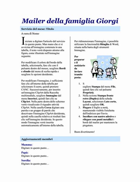 Notiziario famigliare (2 pagine)