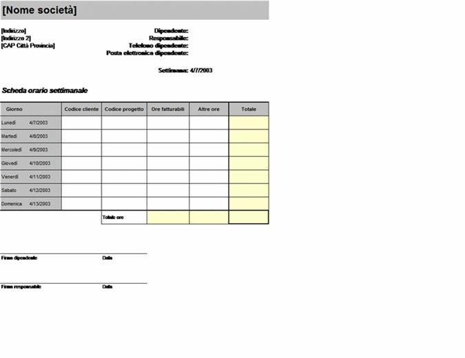 Scheda orario settimanale per cliente e progetto