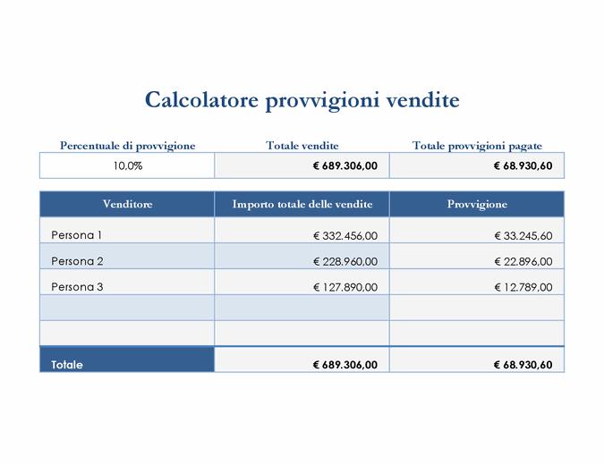 Calcolatore provvigioni vendite
